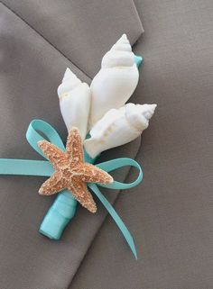Beach Wedding Seashell Boutonniere with your choice of Ribbon Color - Lapel Pin Nautical Coastal Star Fish