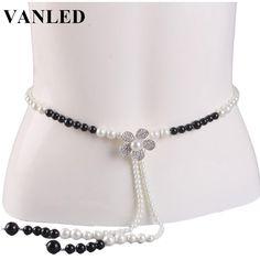 >> Click to Buy << VANLED Korean Elegant Pearl Beaded Chain Belt For Women Flowers Rhinestones Waist Chain Female Fashion Neck Chain Narrow Belt #Affiliate