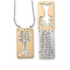 Inspirational Quote Necklace Pendant with 'Tree Poem' inscribed on pendant. Quote: 'Time is too slow for those who wait, Too swift for those who fear ... for those who Love --- Time is Eternity' -Henry Van Dyke
