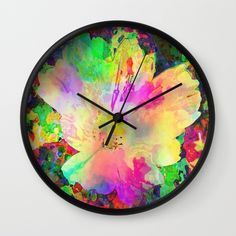 Sun Drenched Tropical Flower Wall Clock