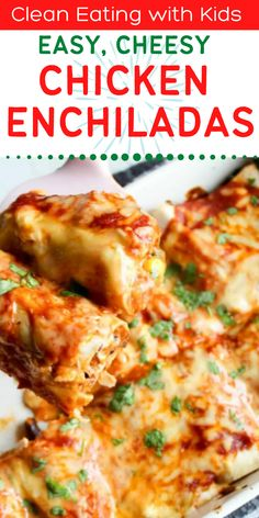 This EASY, healthy Chicken Enchilada recipe is top of my kids list of favorite dinners. It's a quick chicken recipe, a family favorite and a total winner every single time I make it. Yum! Quick Chicken Recipes, Real Food Recipes, Easy Enchilada Recipe, Healthy Chicken Enchiladas, Kids Meals, Easy Meals, Clean Eating Chicken, Favorite Recipes, Picky Eaters