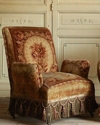 Antique Napoleonic Armchairs Original Velvet Wool Upholstery - French Garden House