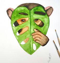 Monkey Monstera ist mit Aquarellfarben gemalt #Aquarell Instagram, Pictures, Creative