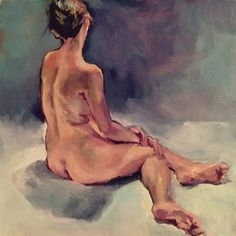 Seated nude by Kristy Edwards oil on panel