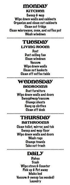 Spring clean schedule