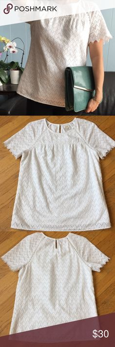 J Crew Eyelet T-Shirt Gorgeous T-Shirt. In excellent good condition. With back keyhole with button closure. J. Crew Tops