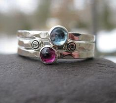 A mother's ring I'd actually wear!! sterling silver stacking rings with birthstones and by bddesigns, $148.00