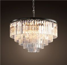 Люстра RH 1920s Odeon Clear Glass Fringe Chandelier - 5 rings