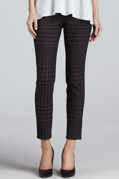 """Houndstooth jacquard adds a sophisticated, graphic element to Cut25 by Yigal Azrouel skinny pants. 5-pocket styling. Single-button closure and zip fly.    Measures: 8.5"""" rise;28"""" inseam; 10"""" leg opening   Houndstooth Twill Pants by Black Orchid Denim. Clothing - Bottoms - Pants & Leggings - Straight Clothing - Bottoms - Pants & Leggings - Cropped Florida"""
