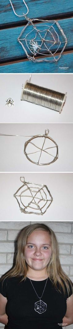 Wire Wrapped Spider Web Necklace!  Halloween jewelry!