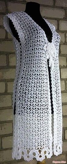 Long crochet vest in an interesting stitch. Going on my queue!