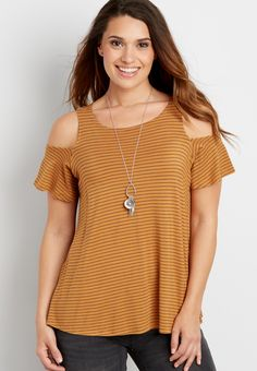 639c2b20 the 24/7 striped cold shoulder tee with tie back (original price, $19.99