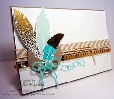 Narelle Fasulo - Independent Stampin' Up! Demonstrator - Four Feathers - one of my favourite sets - check out the details on my blog - http://www.simplystampingwithnarelle.com/2014/10/four-feathers.html