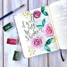 Bible Journaling- Easy Watercolor Rose Tutorial Bible Journaling For Beginners, Bible Study Journal, Art Journaling, Prayer Journals, Bible Drawing, Bible Doodling, Watercolor Flowers Tutorial, Easy Watercolor, Cute Bibles