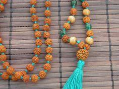 Sandalwood green onyx and Rudraksha prayer bead by SuryaLotus