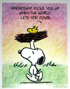 Snoopy Friendship picks you Up when the World lets you Down. - Snoopy and Woodstock Peanuts Quotes, Snoopy Quotes, Peanuts Cartoon, Peanuts Snoopy, Peanuts Comics, Charlie Brown And Snoopy, Snoopy And Woodstock, Friends Forever, Friendship Quotes