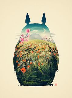 Totoro illustration art - gorgeous concept Design. Love the concept for the poster, with the filled silhouette
