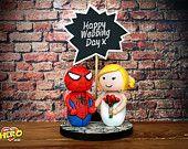 SPIDERMAN and bride wedding cake topper SUPERHERO personalised peter parker £65 OHMYHERO