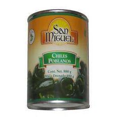 Poblano Chillies Whole - Chiles Poblanos Enteros 800g at MexGrocer.co.uk, Online Grocery Store for Authentic Mexican food & Chillies - Poblano chiles whole, cooked and ready to eat. Large can 800g