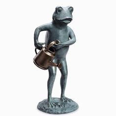 Gardener Frog With Watering Can Metal Garden Statue Sculpture Whimsical #Whimsical