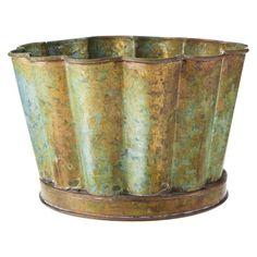 "Smith & Hawken® Scalloped Edge Metal Pot; 5.5"" height"