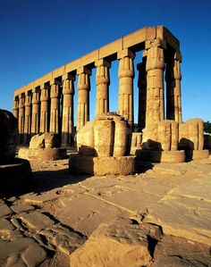 Early morning light on the colonnade of stone pillars at Luxor temple, Egypt Historical Monuments, Historical Sites, Places To Travel, Places To See, Places Around The World, Around The Worlds, Ancient Egyptian Architecture, Ancient Ruins, Ancient History