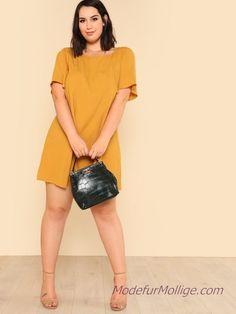 b1df300dad32f Cut Out Zurück Flutter Ärmel Kleid mollige Outfit Ideen für den Sommer -  Mode für Mollige