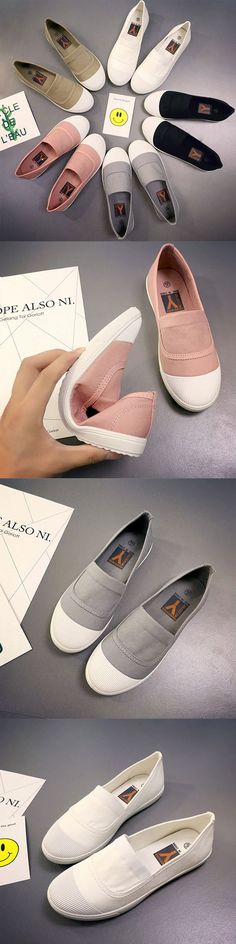 US$11.07 White Toe Color Blocking Canvas Slip On Casual Flat Shoes