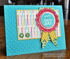 """Paper:  Bermuda Bay        5-1/2x8-1/2 Card Base  Summer Starfruit        4-1/8x2-5/8 Layer Behind Candles  Gumball Green          Very Vanilla        2-3/4x2-3/4 for Ribbon Scalloped Circle       2x2 for Greeting  Summer Starfruit DSP 2012-2014         Birthday Basics DSP       4x2-1/2 Candle Layer       1-1/2x3-3/4 Green Flag   Ink:  Raspberry Ripple   Bermuda Bay        2-3/8"""" Scallop Circle Punch  1-3/8"""" Circle Punch  Itty Bitty Shapes Punch Pack    Perfect Polka Dots Embossing Folder"""