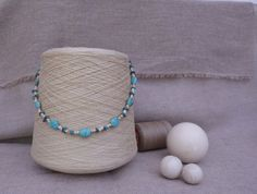 Classic necklace with turquoise stones