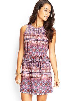 Tribal Print Pleated Dress | Love21 - 2000105169