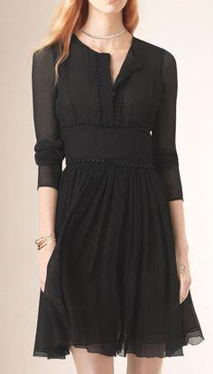 Black Jewel Neck Long Sleeve Dress ♥