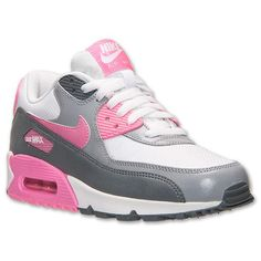 Women's Nike Air Max 90 Essential Running Shoes| FinishLine.com | White/Pink Glow/Cool Grey/Wolf Grey