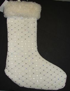 CHRISTMAS STOCKING BELLA LUX LUXURY WHITE FAUX LEATHER FUR SILVER SEQUENCE  NEW e2525b2af9317