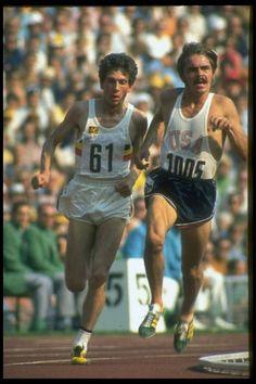 Steve Prefontaine USA and Emiel Puttemans Belgium 5,000 meter run semifinal  September 1972 Munich Olympics by Co Rentmeester