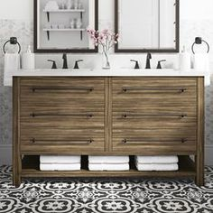 Allen roth Kennilton Gray Oak Double Sink Bathroom Vanity with Carrera Wh. Small Double Sink Vanity, Double Sink Bathroom, Bathroom Vanity Tops, Small Bathroom, Master Bathroom, Bathroom Ideas, Double Sinks, White Bathroom, Bathroom Plans