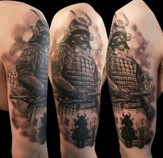 Samurai tattoo big small in one
