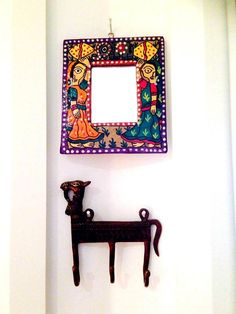 Handpainted mirror ,hand painted mirror , madhubani ,handpainted indian décor , indian handicraft , home decor , indian art