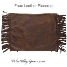 Set of 8 Brown Faux Leather Placemats with Fringe 20x16""