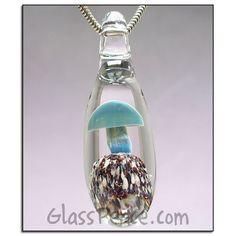 Blue Glass Mushroom Bead lampwork pendant shroom by Glass Peace $12.00