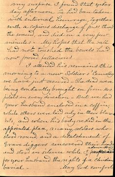 ixth Michigan chaplain Stephen S.N. Greeley sent this four-page letter to Tucker's wife explaining the circumstances of the sergeant's death after he was wounded at the  Battle of the Wilderness