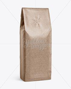 Glossy Kraft Coffee Bag With Valve Mockup - Halfside View