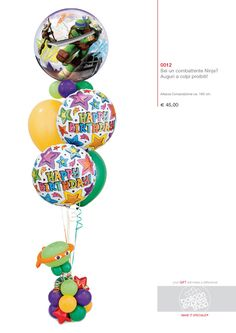 This bouquet of balloons is action-packed - pairing the great Teenage Mutant Ninja Turtles Bubble Balloon® with birthday Microfoil balloons and a twisted Ninja Turtle! Turtle Birthday Parties, Ninja Turtle Birthday, Ninja Turtle Party, Happy Birthday Bouquet, Balloon Decorations, Balloon Ideas, Qualatex Balloons, Bubble Balloons, Balloon Bouquet