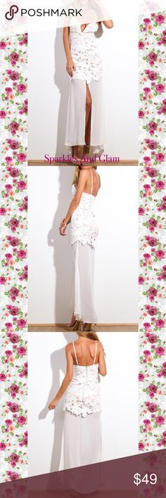 🌷White Flower Appliqué Maxi Dress 🌷 Beautiful statement dress with lace bodice and sweetheart neckline. Formfitting shell details with  embroidered flower appliqués, thin adjustable straps, leg-showing front split and visible back zip.  Size: Small 4-6  Fast Shipping Smoke Free Pet Free Home Dresses Maxi