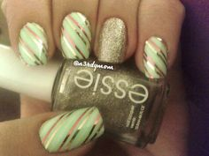 Wrapping paper nails with striping tape and glitter accent nail