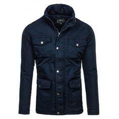 Zateplená zimná bunda pre pánov tmavomodrej farby - fashionday.eu