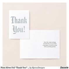 """Shop Plain Silver Foil """"Thank You!"""" Card created by AponxDesigns. Paper Envelopes, White Envelopes, Thank You Greeting Cards, Colored Paper, Place Card Holders, Cards Against Humanity, Messages, Silver, Prints"""