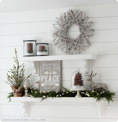 The House of Smiths - Decorating on a Budget Blog {Wreath, Candles & Glass jars - Target;  Silver pine cone - The Black Goose Design;  Silver deer - HomeGoods;  Tree & Greenery - Tai Pan;  Christmas plaque - The House of Smiths Designs} Winter Wonderland Christmas, Winter Christmas, Christmas Home, Christmas Wreaths, Christmas Crafts, Christmas Vignette, Modern Christmas, Scandinavian Christmas, Christmas Plaques