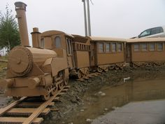 Cardboard Train by Nemanja Abazovic, via Behance Polar Express Movie, Polar Express Theme, Polar Express Train, Cardboard Train, Cardboard Crafts, Polar Express Christmas Party, Earth Day Crafts, Cardboard Sculpture, Train Art
