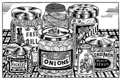 Here is an upcoming front and back cover for the free newspaper published by Brooklyn's Desert Island Comics Pickled Onions, Illustration Art, Illustrations, Pickles, Print Design, Menu, Desert Island, Prints, Books